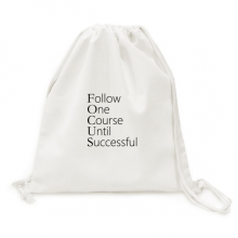 Follow Successful Quote Canvas Drawstring Backpack Travel Shopping Bags
