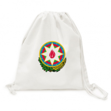 Baku Azerbaijan National Emblem Canvas Drawstring Backpack Travel Shopping Bags