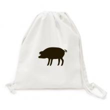 Black Pig Animal Portrayal Canvas Drawstring Backpack Travel Shopping Bags