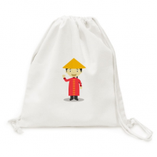 Red Long Gown China Cartoon Canvas Drawstring Backpack Travel Shopping Bags