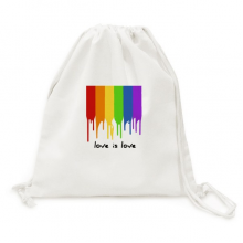 Love is Love LGBT Rainbow Color Canvas Drawstring Backpack Travel Shopping Bags