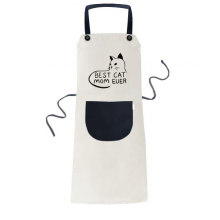 Best Cat Mom Ever Quote DIY Design Apron Adjustable Bib Cotton Linen BBQ Kitchen Pocket Pinafore