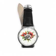 Flowers Plant Painting Corn Poppy Quartz Analog Wrist Business Casual Watch with Stainless Steel Case Gift