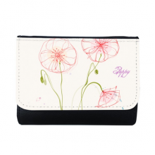 Flowers Plant White Poppy Painting Multi-Function Faux Leather Wallet Card Purse Gift