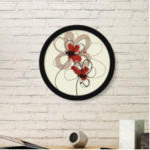 Flowers Plant Painting Decoration Art Painting Picture Photo Wooden Round Frame Home Wall Decor Gift