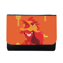 Red Lantern Lion Dance China Town Multi-Function Faux Leather Wallet Card Purse Gift