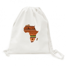 African Continent Name Landscape Map Canvas Drawstring Backpack Travel Shopping Bags