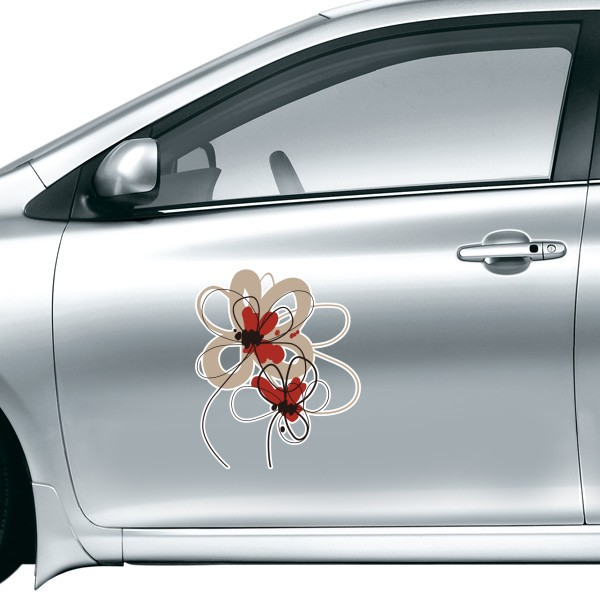 Poppy flowers plant painting decoration car sticker on car styling decal motorcycle stickers for car accessories gift