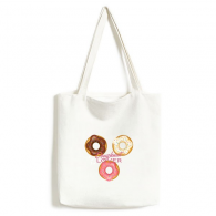 Doughnut Three Western Dessert Food Environmentally Tote Canvas Bag Shopping Handbag Craft Washable