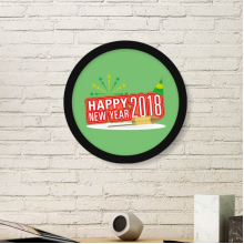 2018 Fireworks Star Red Happy New Year Art Painting Picture Photo Wooden Round Frame Home Wall Decor Gift