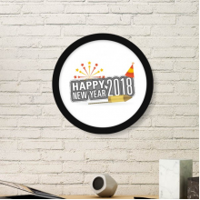 2018 Fireworks Star Gray Happy New Year Art Painting Picture Photo Wooden Round Frame Home Wall Decor Gift