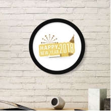 2018 Fireworks Star Brown Happy New Year Art Painting Picture Photo Wooden Round Frame Home Wall Decor Gift