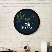 2018 Star Fireworks Happy New Year Art Painting Picture Photo Wooden Round Frame Home Wall Decor Gift