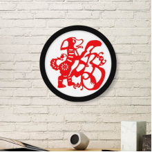 2018 Red Dog Paper Cutting Happy New Year Art Painting Picture Photo Wooden Round Frame Home Wall Decor Gift