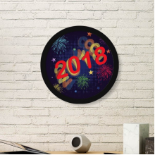 2018 Fireworks Star Happy New Year Art Painting Picture Photo Wooden Round Frame Home Wall Decor Gift