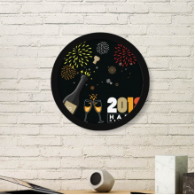 2018 Alcohol Wine Glass Fireworks New Year Art Painting Picture Photo Wooden Round Frame Home Wall Decor Gift