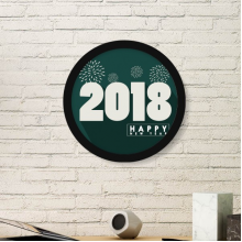 2018 White Fireworks Happy New Year Art Painting Picture Photo Wooden Round Frame Home Wall Decor Gift
