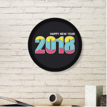 2018 Color Digital Happy New Year Art Painting Picture Photo Wooden Round Frame Home Wall Decor Gift