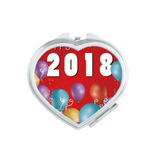 2018 Balloon Year Of The Dog Happy New Year Heart Compact Makeup Mirror Portable Cute Hand Pocket Mirrors Gift