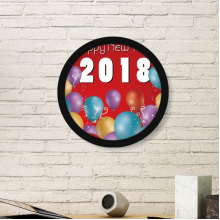 2018 Balloon Year Of The Dog Happy New Year Art Painting Picture Photo Wooden Round Frame Home Wall Decor Gift