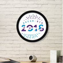 2018 Year Dream Big Happy New Year Art Painting Picture Photo Wooden Round Frame Home Wall Decor Gift