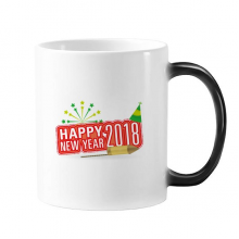 2018 Fireworks Star Red Happy New Year Changing Color Mug Morphing Heat Sensitive Cup Gift With Handles 350 ml
