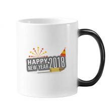 2018 Fireworks Star Gray Happy New Year Changing Color Mug Morphing Heat Sensitive Cup Gift With Handles 350 ml