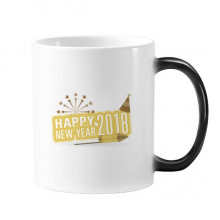 2018 Fireworks Star Brown Happy New Year Changing Color Mug Morphing Heat Sensitive Cup Gift With Handles 350 ml