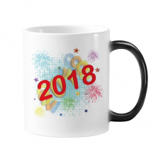 2018 Fireworks Star Happy New Year Changing Color Mug Morphing Heat Sensitive Cup Gift With Handles 350 ml