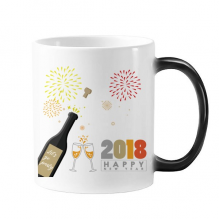2018 Alcohol Wine Glass Fireworks New Year Changing Color Mug Morphing Heat Sensitive Cup Gift With Handles 350 ml