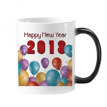 2018 Balloon Year Of The Dog Happy New Year Changing Color Mug Morphing Heat Sensitive Cup Gift With Handles 350 ml