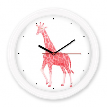 IUCN Endangered Animals Red Giraffe Silent Non-ticking Round Clock Battery-operated Home Wall Decal Gift