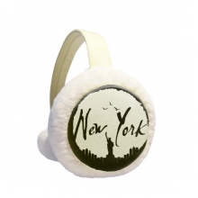 New York USA  Liberty Outline Winter Ear Warmer Cable Knit Furry Fleece Earmuff Outdoor