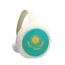 Kazakhstan National Flag Asia Country Winter Ear Warmer Cable Knit Furry Fleece Earmuff Outdoor
