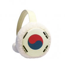 South Korea National Flag Asia Country Winter Ear Warmer Cable Knit Furry Fleece Earmuff Outdoor