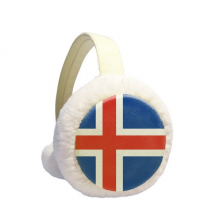 Iceland National Flag Europe Country Pattern Winter Ear Warmer Cable Knit Furry Fleece Earmuff Outdoor