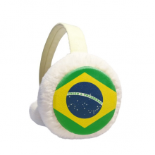 Brazil Flag Country Round Pattern Winter Ear Warmer Cable Knit Furry Fleece Earmuff Outdoor