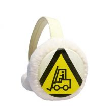 Warning Symbol Yellow Black Forklifts Triangle Winter Ear Warmer Cable Knit Furry Fleece Earmuff Outdoor