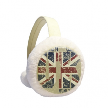 London King UK the Union Jack Flag Winter Ear Warmer Cable Knit Furry Fleece Earmuff Outdoor