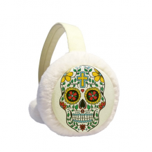 Cirrus Skull Flower Cross Mexico Culture Illustration Winter Earmuffs Ear Warmers Faux Fur Foldable Plush Outdoor Gift