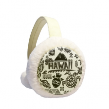Hawaiian Islands Celebrate Silhouette America Winter Earmuffs Ear Warmers Faux Fur Foldable Plush Outdoor Gift