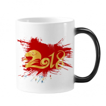 2018 New Year Happy Red China Dog Bless Changing Color Mug Cup Morphing Heat Sensitive  Gift With Handles 350 ml