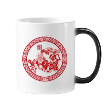 2018 New Year Happy Red Paper-cut China Dog Changing Color Mug Morphing Heat Sensitive Cup Gift With Handles 350 ml