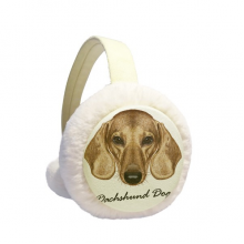 Brown Short-leg Dachshund Dog Animal Winter Ear Warmer Cable Knit Furry Fleece Earmuff Outdoor