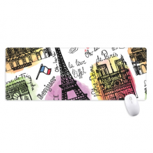 Building France Eiffel Tower Watercolor Non-Slip Mousepad Large Extended Game Office titched Edges Computer Mat Gift