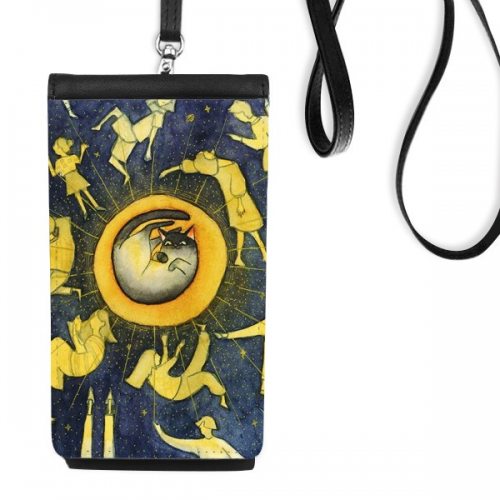 Miaoji Painting Watercolor Cat Moon People Faux Leather Smartphone Hanging Purse Black Phone Wallet Gift