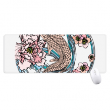 Carp Pink Lotus Pattern Geometry Non-Slip Mousepad Large Extended Game Office titched Edges Computer Mat Gift
