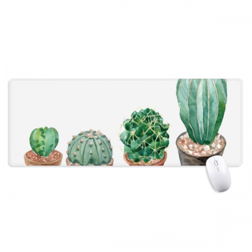 Succulents Cactus Potted Plant Illustration Non-Slip Mousepad Large Extended Game Office titched Edges Computer Mat Gift
