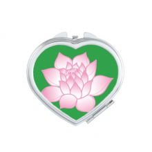Flower Plant Lotus Flower Pink Pattern Heart Compact Makeup Mirror Portable Cute Hand Pocket Mirrors Gift