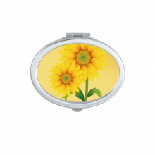 Yellow Sunflower Greenery Flower Plant Oval Compact Makeup Mirror Portable Cute Hand Pocket Mirrors Gift
